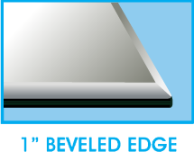 1 Inch Bevel Edge - Square Glass Table Top