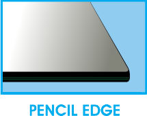 Square Glass Top Pencil Edge